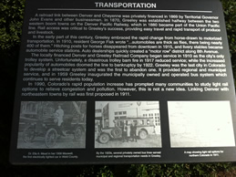 Sign telling about transportation in Greeley