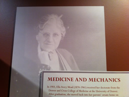 Display about Dr. Ella Mead at the Greeley History Museum