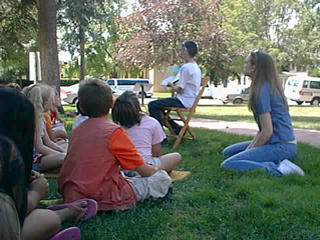 Story Time on the Meeker Lawn